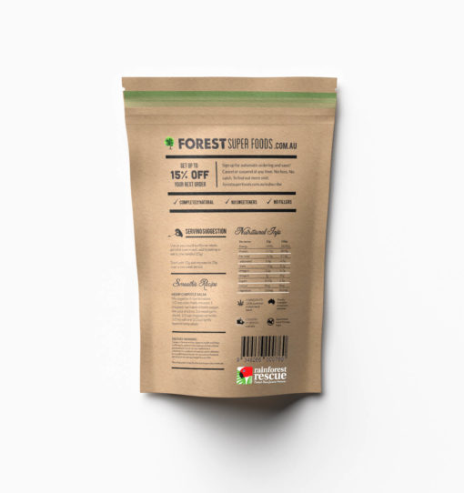Back of Packaging Hemp Seeds Australian